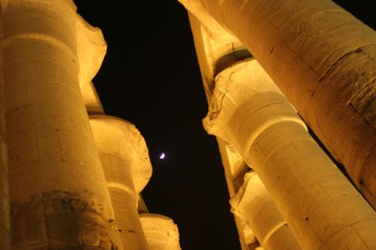 Luxor at night with moon