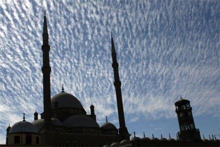 minarets clouds and clocktower