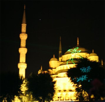 mosque light show yellow