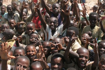 wide shot burundi kids