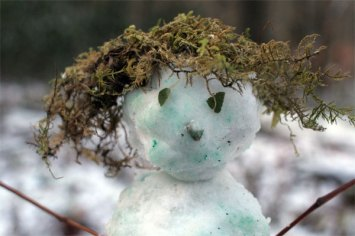 closeup little snowman with moss hair