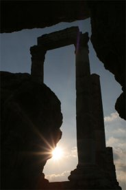 Temple of Hercules with sunset