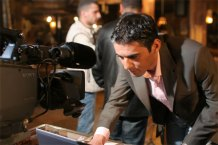 Emad at teleprompter