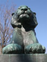 lion statue from front