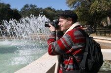 Alaa at the fountain at UT