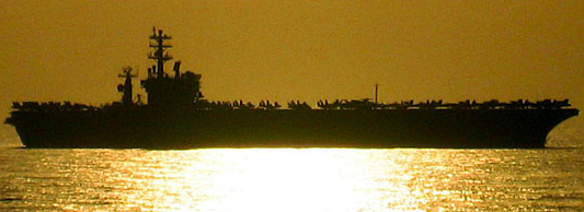 The USS Nimitz at sunset, from the PBS documentary series Carrier