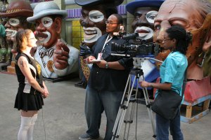interviewing roller girl at Blaine KErn\'s