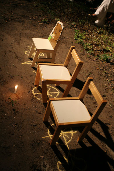 chairs over chalk line