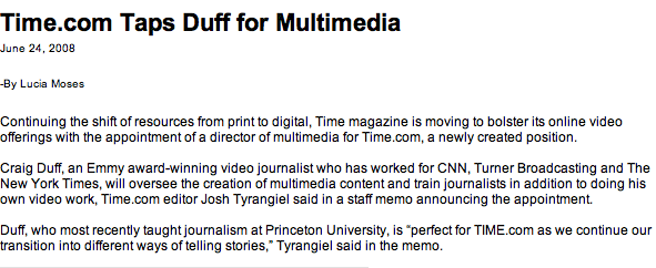 Time.com Taps Duff for Multimedia