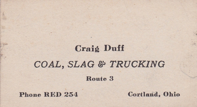 Craig's grandfather's business card from the 1940s