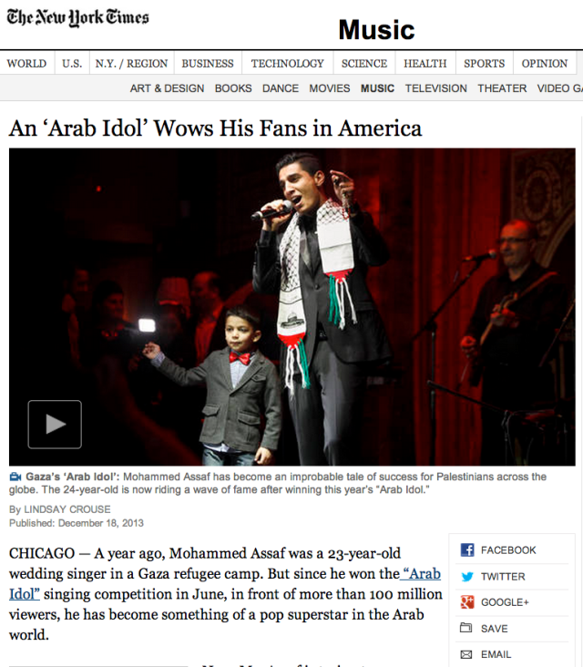 NYTimes article about Mohammed Assaf