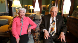 Cleveland Orchestra patrons Tamar and Milton Maltz during my interview with them in the board room at Severance Hall.